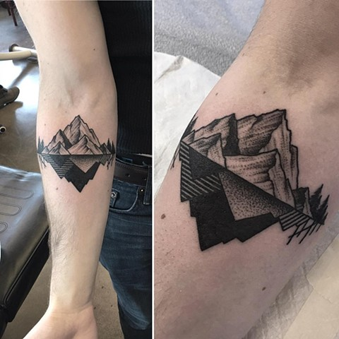 Mountain Tattoo By Cheyanne Black and Grey Crimson Empire Tattoo - 01.2018