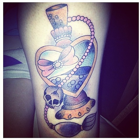 Perfume bottle on thigh by Sydney Dyer