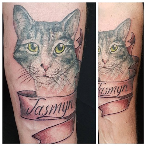 Cat Portrait w/ Banner and Script Tattoo By Kevin Color Crimson Empire Tattoo - 04.2017