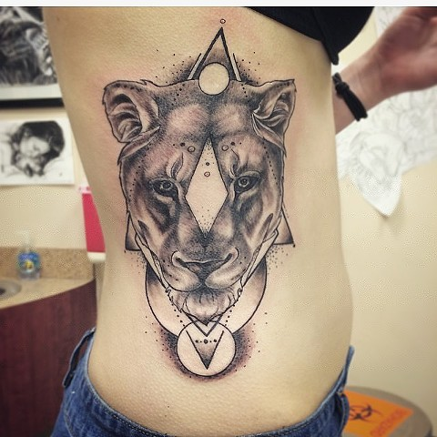 Lioness Portrait w/ Geometric Designs Black and Grey Tattoo