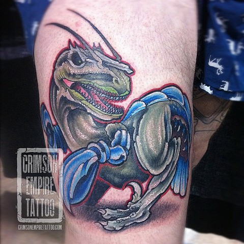 Dino-lobster on thigh by Jared Phair
