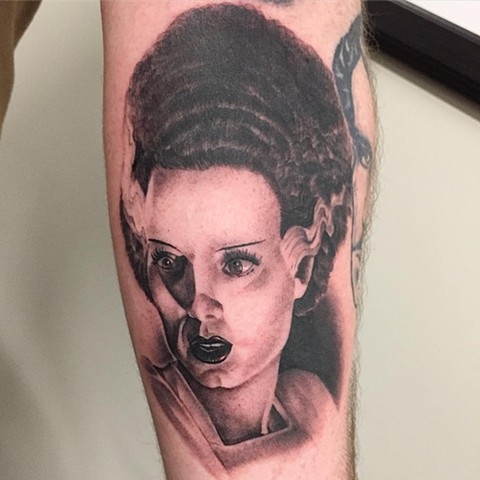 Bride of Frankenstein Black and Grey Tattoo