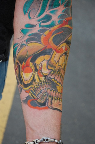 Flaming Skull 4 Tattoo