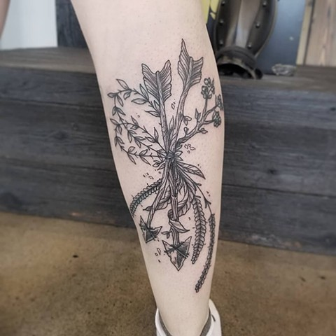 Arrows and Wheat Tattoo By Adrienne Black and Grey Crimson Empire Tattoo - 02.2018