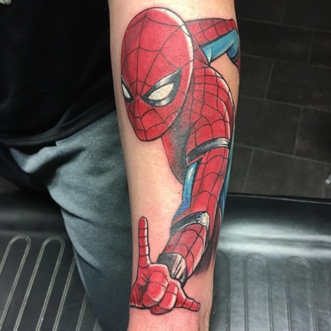 Spiderman Full Color Tattoo