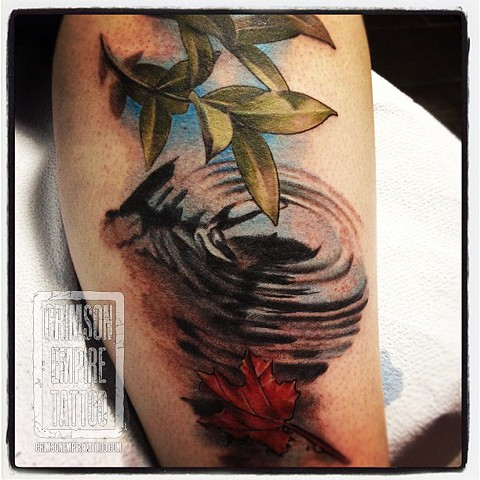 Puddle and Leaves on Calf by Chad Clothier