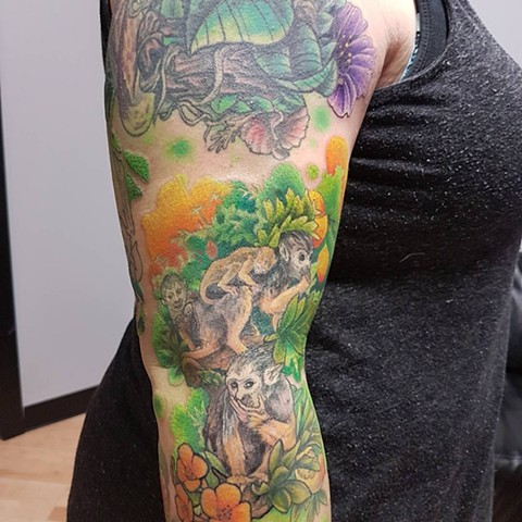 Monkeys and Flowers Tattoo By Kevin Color Crimson Empire Tattoo - 01.2018