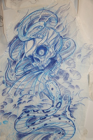 Snake Skull Sketch Tattoo
