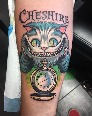 Cheshire Cat Full Color Tattoo