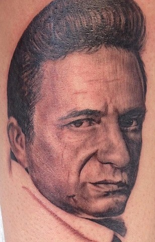 Black and Grey Johnny Cash Portrait Tattoo