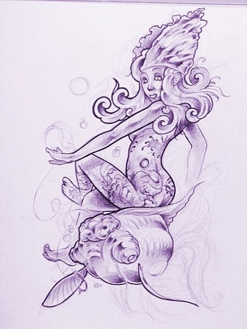 Mermaid Tattoo Sketch