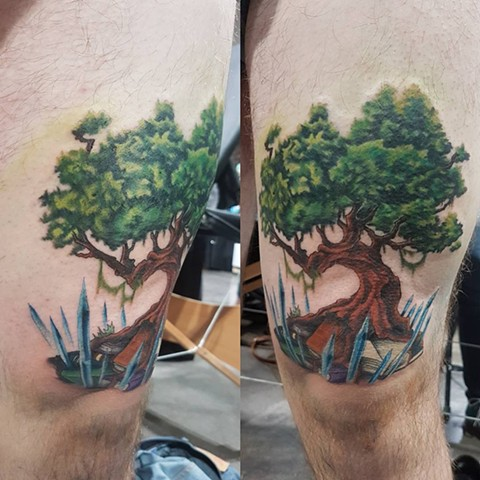 Tree w/ Books and Crystals Tattoo By Kevin Color Crimson Empire Tattoo - 10.2017