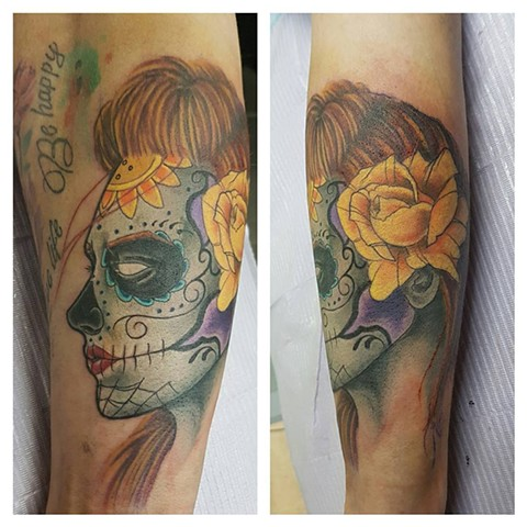 Day of the Dead Sugar Skull Girl Tattoo By Kevin Color Crimson Empire Tattoo - 03.2017