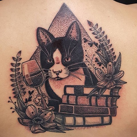Cat w/ Wine, Books, and Flowers Tattoo By Sheila Black and Grey Pointillism Crimson Empire Tattoo - 12.2017