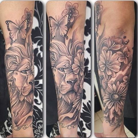Lion Portrait w/ Flowers and Butterflies Black and Grey Tattoo