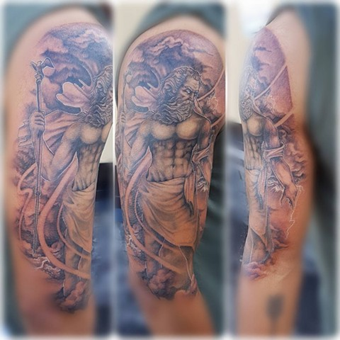 Zeus Tattoo By Kevin Black and Grey Crimson Empire Tattoo - 08.2017