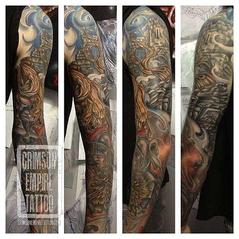 Gladiator sleeve on arm by Josh Lamoreux. Follow Josh @joshlamoureux