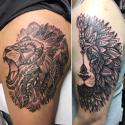 Lion Tattoos By Cheyanne Black and Grey Crimson Empire Tattoo - 11.2017