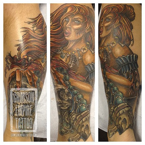 Girl and skull on forearm by Josh Lamoureux