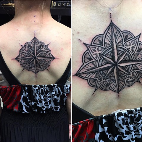 Mandala Compass Tattoo By Cheyanne Pointillism Black and Grey Crimson Empire Tattoo - 07.2017