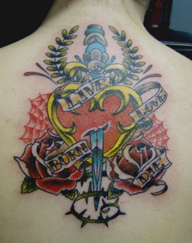 Traditional Heart Dagger Tattoo