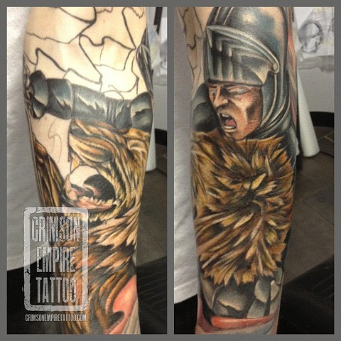 Lion and knight sleeve on arm by Josh Lamoreux. Follow Josh @joshlamoureux
