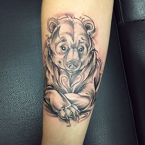 Illustrative Style Bear Black and Grey Tattoo
