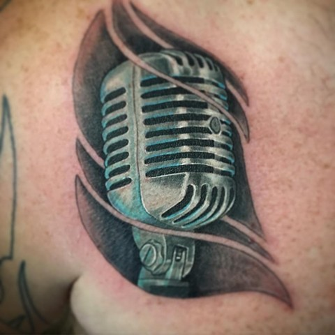 Microphone Tattoo By Dale Color Crimson Empire Tattoo - 07.2017