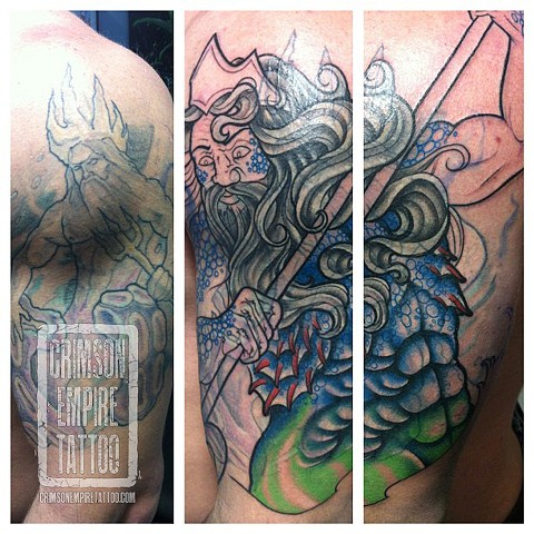 Poseidon Coverup on Bicep by Jared Phair