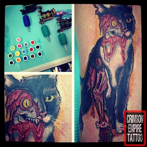 Zombie Cat Tattoo- Crimson Empire Tattoo