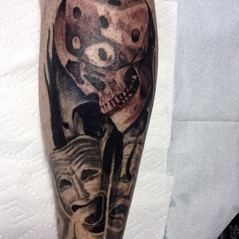 Black and Grey Skull, Dice & Mask Tattoo