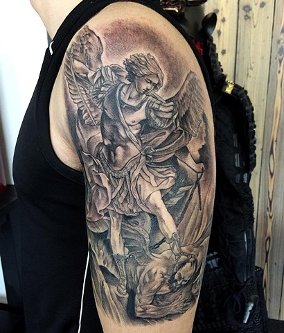 St. Michael Tattoo By Chad Lavers Black And Grey Crimson Empire Tattoo Co