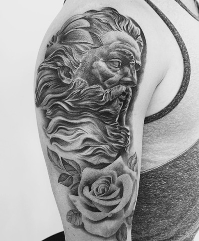 Black and Grey Zeus and Roses Tattoo