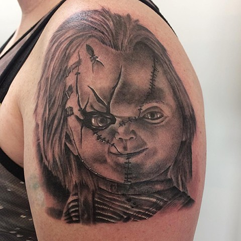 Chucky Black and Grey Tattoo