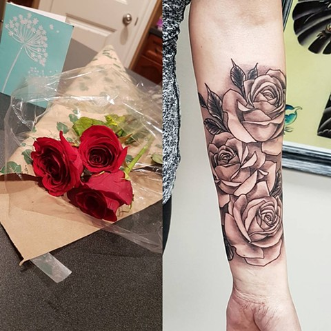 Realistic Black and Grey Rose Forearm Tattoo