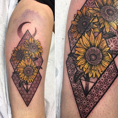 Sunflowers and Geometric Background Tattoo By Cheyanne Pointillism and Color Black and Grey Crimson Empire Tattoo - 12.2017