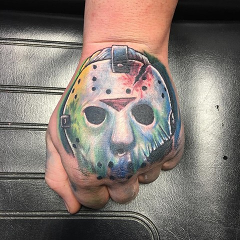 Jason Full Color Hand Tattoo