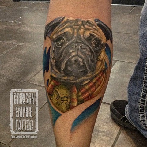 Pug Portait on calf by Josh Lamoureux
