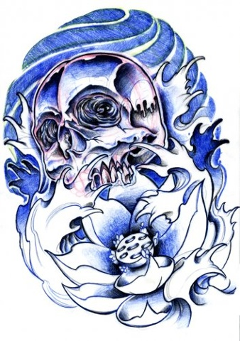 Skull Lotus Tattoo