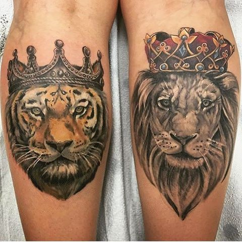 Tiger and Lion Portrait w/ Crowns Color Tattoo