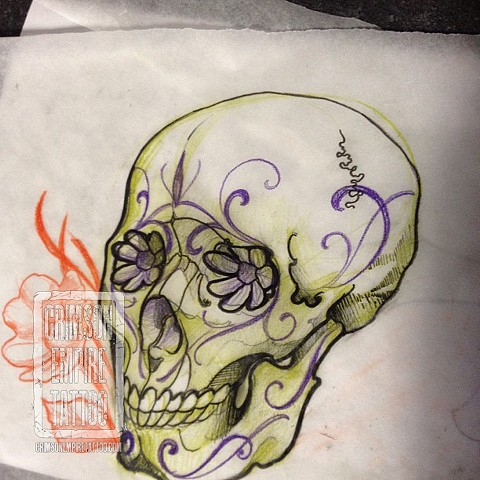 Flower and skull sketch by Chad Clothier. Follow Chad @clobot