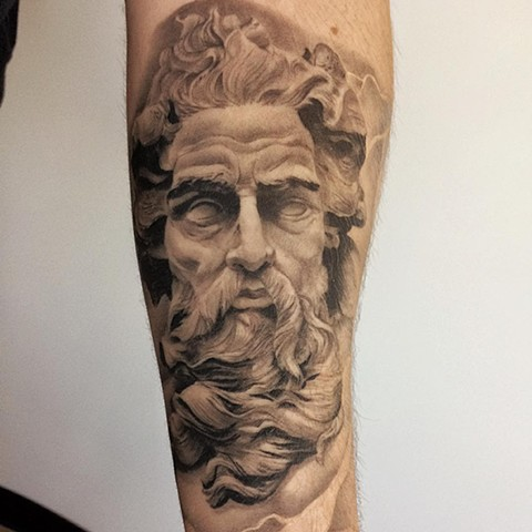 Zeus Black and Grey Tattoo