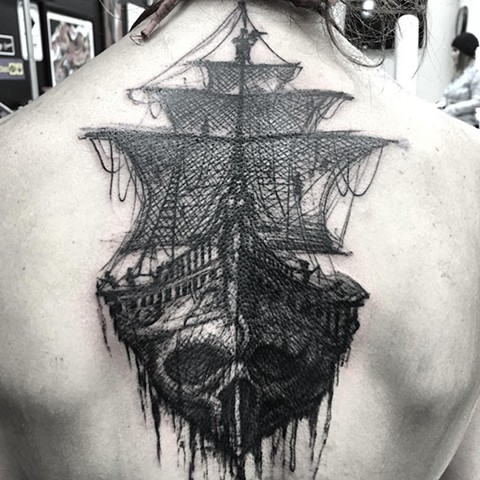 Skull Ship Black and Grey Tattoo