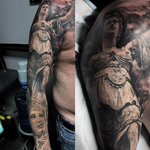 Black and Grey Statues Full Sleeve Tattoo