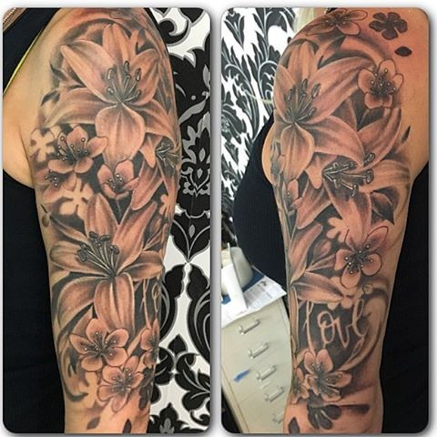 Flowers Black and Grey Tattoo