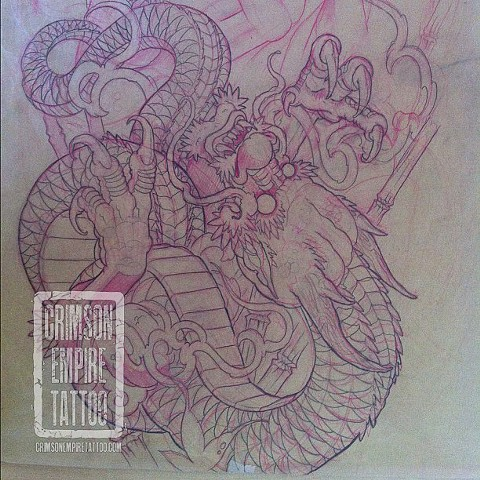 Dragon and buddha sleeve sketch by Curt Semeniuk