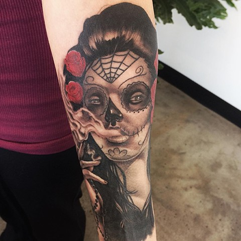 Sugar Skull Girl Day of the Dead Tattoo By Chad Black and Grey Crimson Empire Tattoo