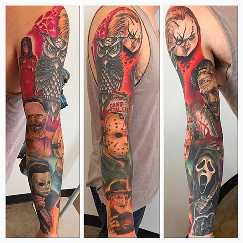 Horror Theme Color Sleeve Tattoo