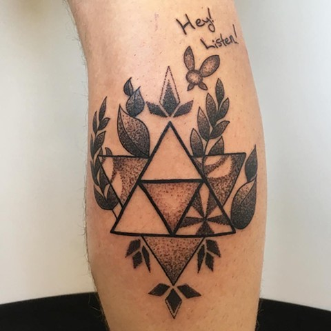 Zelda Inspired Geometric Tattoo By Vanessa Pointillism Black and Grey Crimson Empire Tattoo - 09.2017