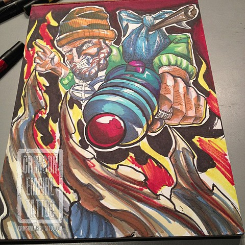 Hobo with a shotgun painting by Josh Lamoreux. Follow Josh @joshlamoureux